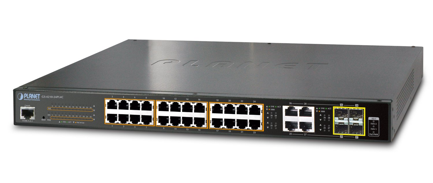 Planet IPv6/IPv4, 24-Port Managed 802.3at POE+ Gigabit Ethernet S