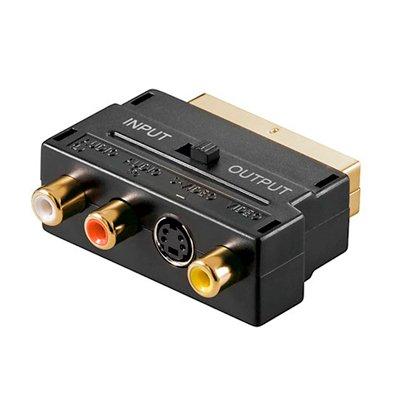 Adaptador Euroconector a 3 RCA (Audio/Video) Conmutable.