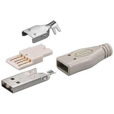 Conector USB Tipao A Macho para soldar + carcasa.