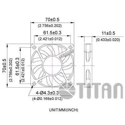 Ventilador adicional 70x70x10mm.